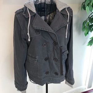 Hurley Military Style Double Breast Hooded Jacket